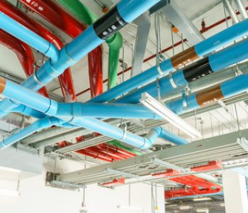 Red Water pipe system. Pumping systems for industrial plants. Construction work. Installation of pipeline extinguishing water in the building. Maintenance of drainage pipes.